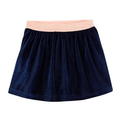 Carter's Glitter Waist Velvet Girls Midi Flared Skirt- Baby