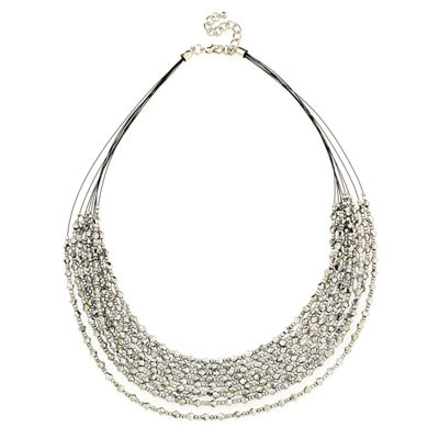 Bijoux Bar Womens Gray Beaded Necklace