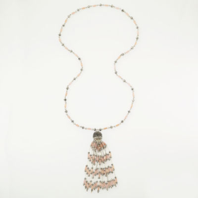 Bijoux Bar Womens Champagne Beaded Necklace