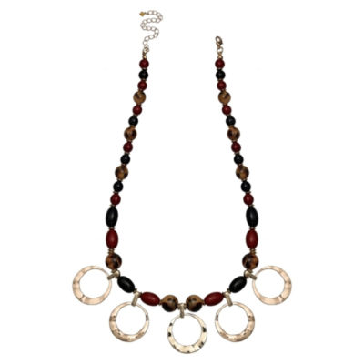 Mixit Black Red & Animal Gold Womens Beaded Necklace