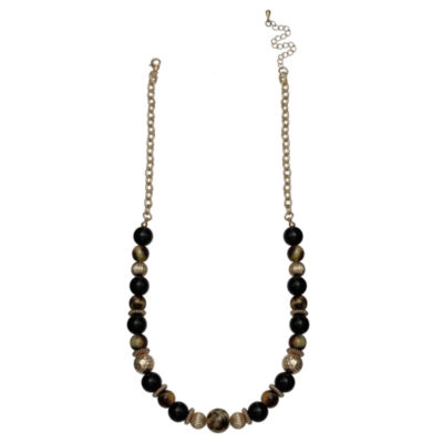 Mixit Black Red & Animal Womens Beaded Necklace