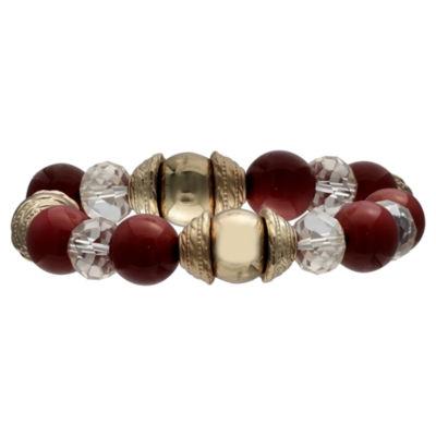 Mixit Black Red & Animal Bead Womens Stretch Bracelet