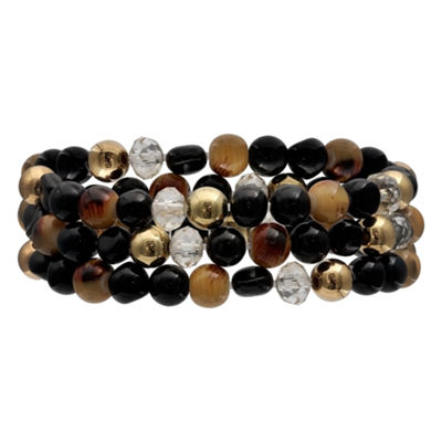 Mixit Black Red & Animal Triple Row Womens Stretch Bracelet