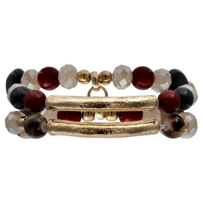 Mixit Black Red & Animal Double Row Womens Stretch Bracelet
