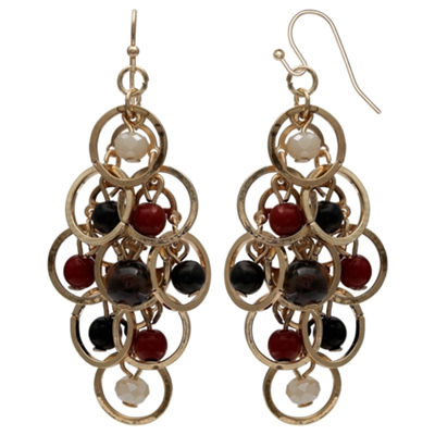 Mixit Black Red & Animal Gold Chandelier Earrings