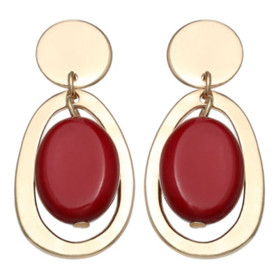 Mixit Gold Hoop With Red Bead 1 3/4 Inch Hoop Earrings