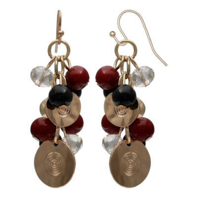 Mixit Black Red & Animal Gold Drop Earrings
