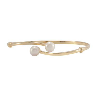 14K Gold Over Silver Cultured Freshwater Pearl Bangle