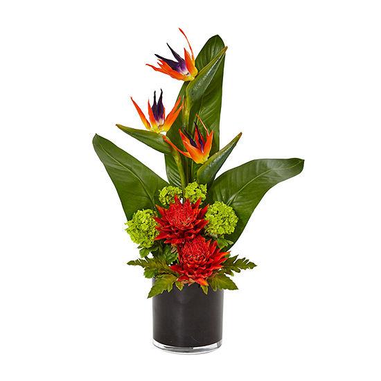 Bird of Paradise Tropical Artificial Arrangement in Black Vase