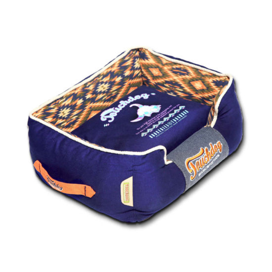 The Pet Life Touchdog 70's Vintage-Tribal Throwback Diamond Patterned Ultra-Plush Rectangular-Boxed Dog Bed
