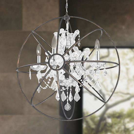 Armillary Collection 4 Light Chrome Finish and Crystal with Flemish Brass Cage Finish Foucault's Orb Chandelier