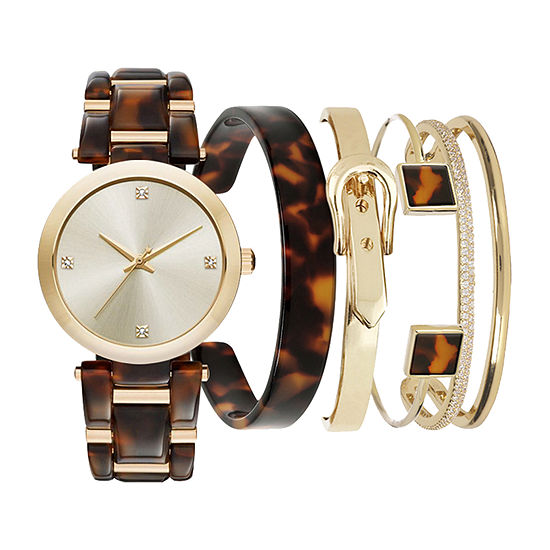 Mixit Mega Sets Womens Brown 4-pc. Watch Boxed Set-7717g-18-A01