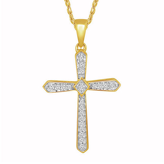 Womens 1/10 CT. T.W. Genuine White Diamond 10K Gold Cross Pendant Necklace