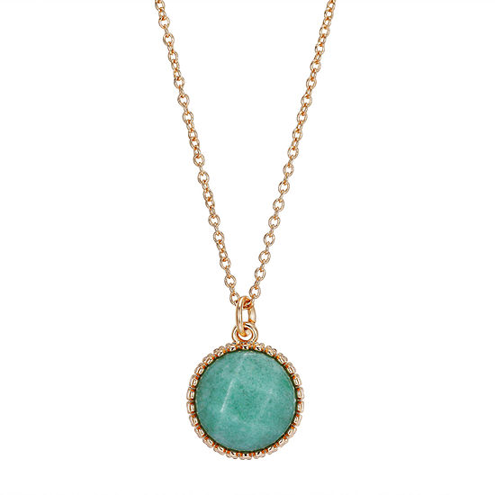 Footnotes Green Aventurine 16 Inch Link Pendant Necklace
