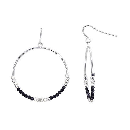 Footnotes Black Onyx Hoop Earrings