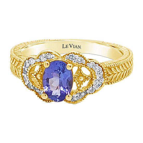 Le Vian Grand Sample Sale™ Ring featuring Blueberry Tanzanite® Vanilla Diamonds® set in 14K Honey Gold™