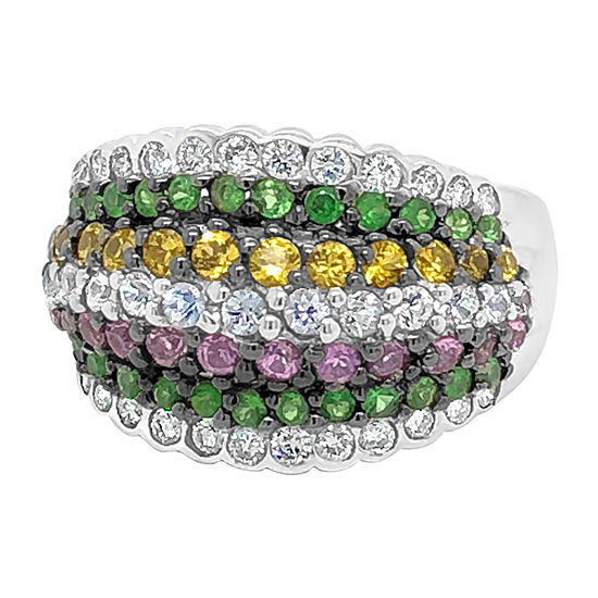 Le Vian Grand Sample Sale™ Ring featuring Bubble Gum Pink Sapphire™ Yellow Sapphire Blueberry Sapphire™ Forest Green Tsavorite™ set in 18K Vanilla Gold®