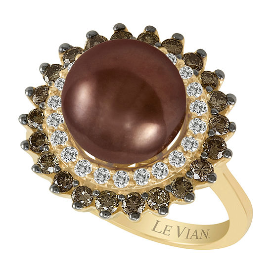 Le Vian Grand Sample Sale™ Ring featuring Chocolate Pearls® Chocolate Diamonds® Vanilla Diamonds® set in 14K Honey Gold™