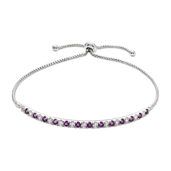 Genuine Purple Amethyst Sterling Silver Bolo Bracelet