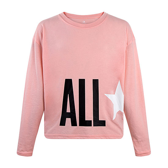 Converse Big Girls Crew Neck Long Sleeve Graphic T-Shirt