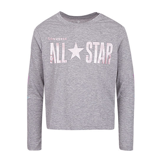 Converse Girls Crew Neck Long Sleeve Graphic T-Shirt - Big Kid