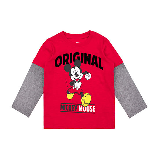 Disney Boys Round Neck Long Sleeve Mickey Mouse Graphic T-Shirt-Toddler