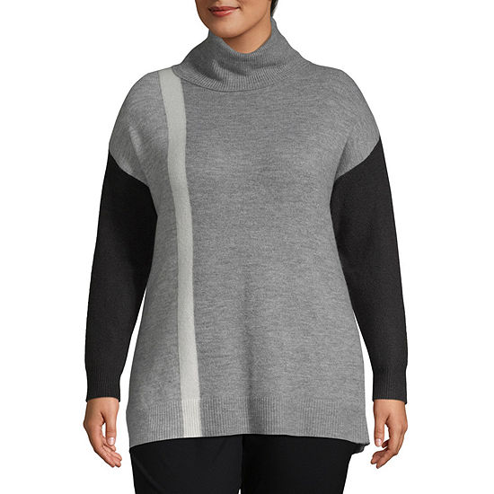 Liz Claiborne Weekend Long Sleeve Colorblock Turtleneck Sweater - Plus