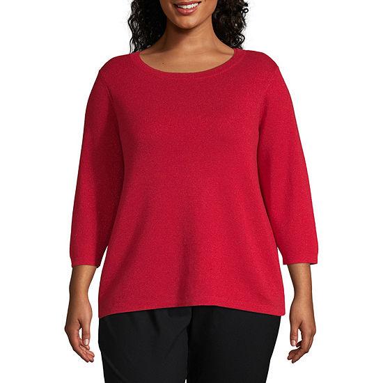 Liz Claiborne 3/4 Sleeve Boatneck Pullover Sweater - Plus