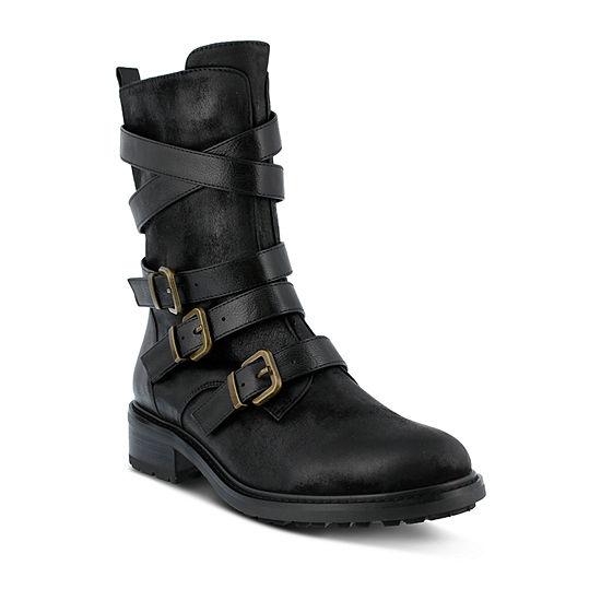 Azura Womens Calmon Combat Boots Flat Heel