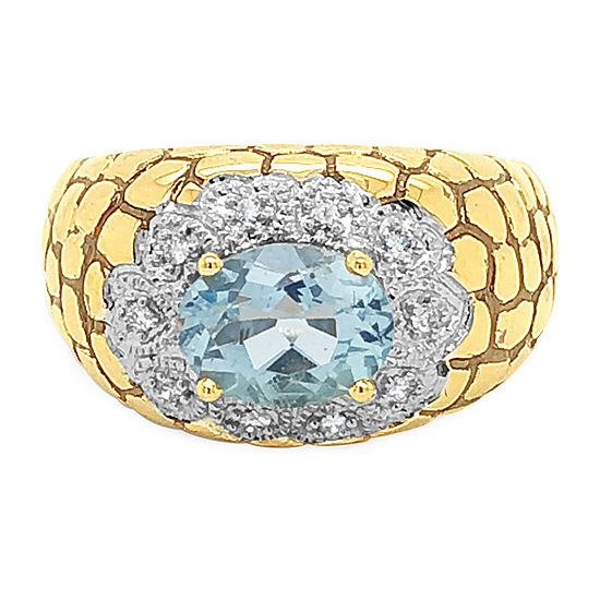 Le Vian Grand Sample Sale™ Ring featuring Sea Blue Aquamarine® Vanilla Diamonds® set in 14K Honey Gold™