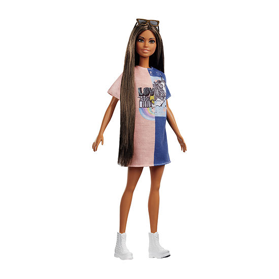 Barbie Fashionista Doll Tall With Log Dark Hair And T-Shirt Dress