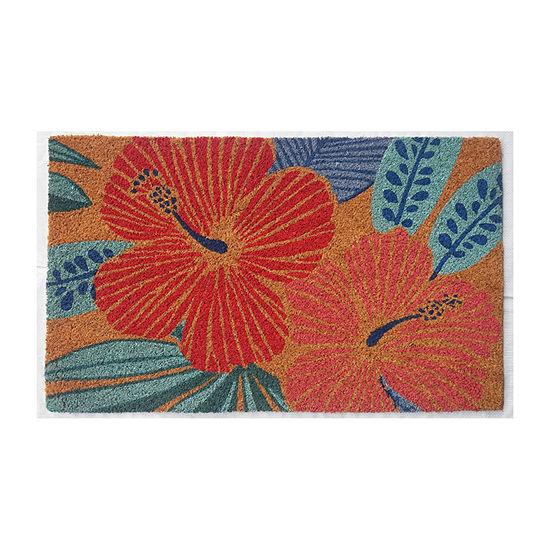 Outdoor Oasis Hibiscus Rectangular Indoor/Outdoor Doormat