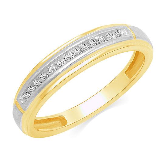 Genuine White Diamond 10K Gold Wedding Band