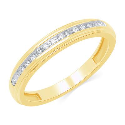 Genuine White Diamond 10K Gold Round Band