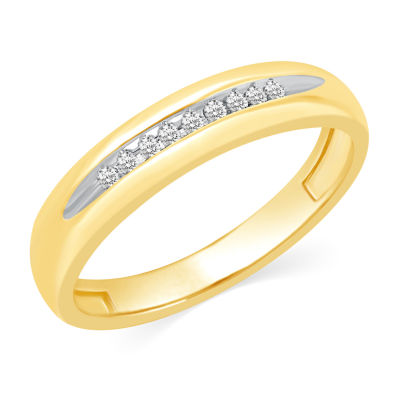Womens Genuine White Diamond 10K Gold Wedding Band