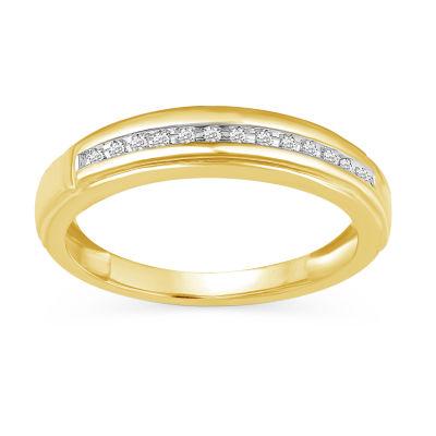 Womens Genuine White Diamond 10K Gold Wedding Band