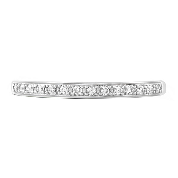 Genuine White Diamond 10K White Gold Wedding Band