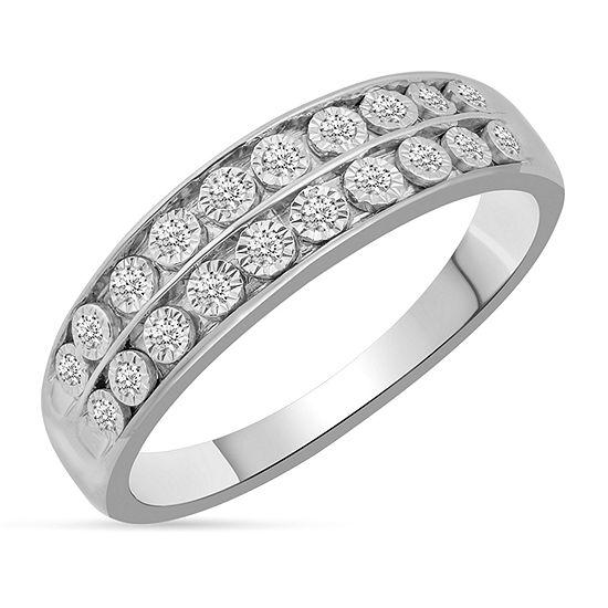 Womens Genuine White Diamond 10K White Gold Wedding Band