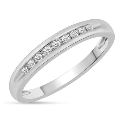 Womens Genuine White Diamond 10K White Gold Wedding Band