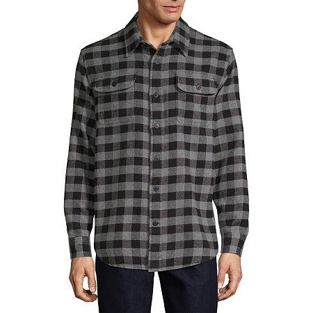 Vintage Mens Clothing | Retro Clothing for Men St. Johns Bay Flannel Lightweight Shirt Jacket Mens Size Medium Black $8.99 AT vintagedancer.com