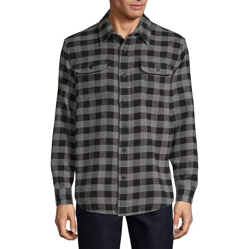 1940s Men's Shirts, Sweaters, Vests St. Johns Bay Flannel Lightweight Shirt Jacket Mens Size Medium Black $7.99 AT vintagedancer.com