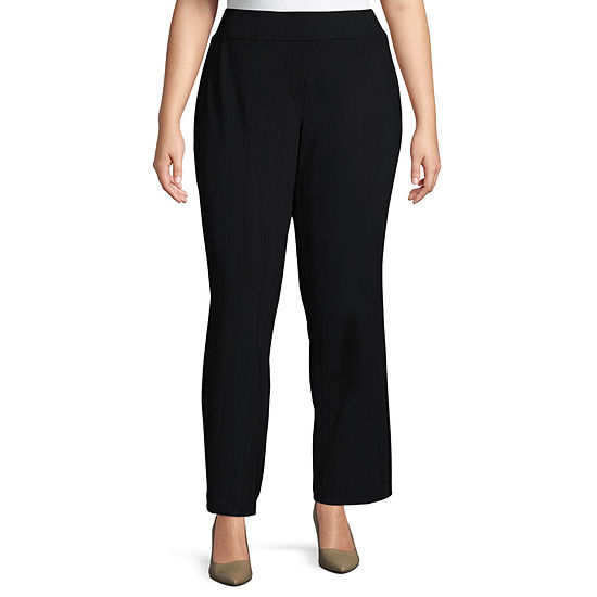 Worthington Womens Ponte Straight Pull-On Trousers - Plus