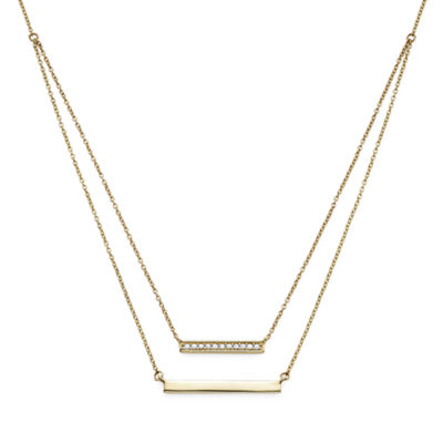 1/10 CT. T.W. Diamond 10K Yellow Gold Layered Bar Necklace