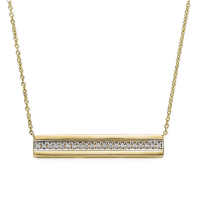 1/10 CT. T.W. Diamond 10K Yellow Gold Bar Necklace