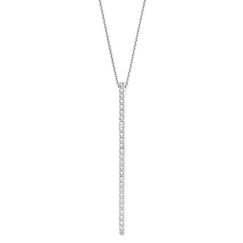 1/3 CT. T.W. Diamond 10K White Gold Bar Pendant Necklace