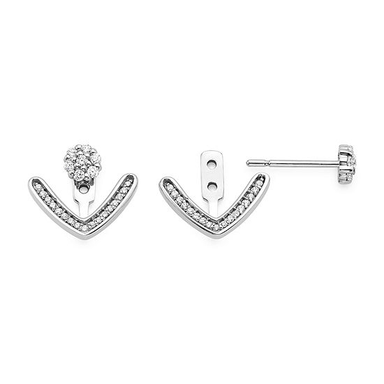 1/5 CT. T.W. Diamond 10K White Gold Cluster and Curve 2-in-1 Earrings