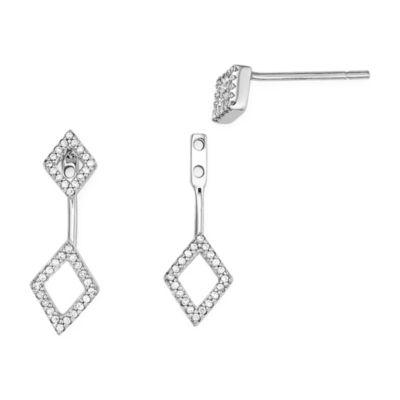 1/7 CT. T.W. Diamond 10K White Gold Rhombus 2-in-1 Earrings