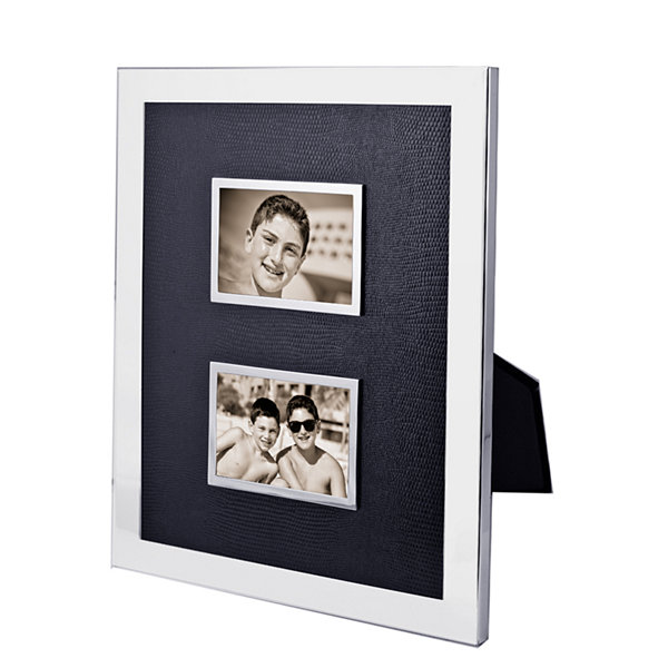 "Natico Black and Silver-Tone Double 2x3"" Picture Frame"