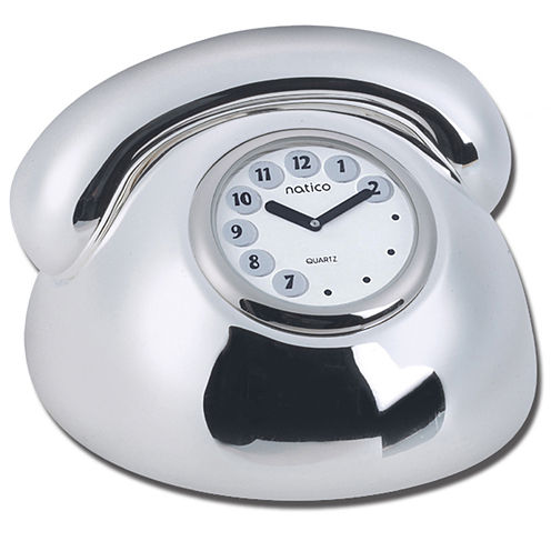 Natico Originals 10-1160 Silver Telephone Clock