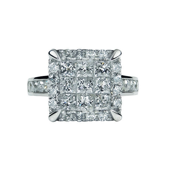 LIMITED QUANTITIES Womens 2 1/2 CT. T.W. Princess White Diamond 14K Gold Engagement Ring